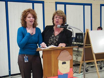 Michelle Gagne with Maine Education Commissioner Susan A. Gendron