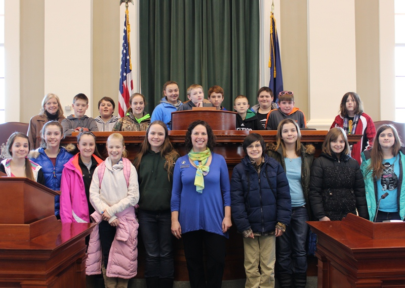 Rep. Michelle Dunphy, D-Old Town, joined seventh-grade students from Leonard Middle School