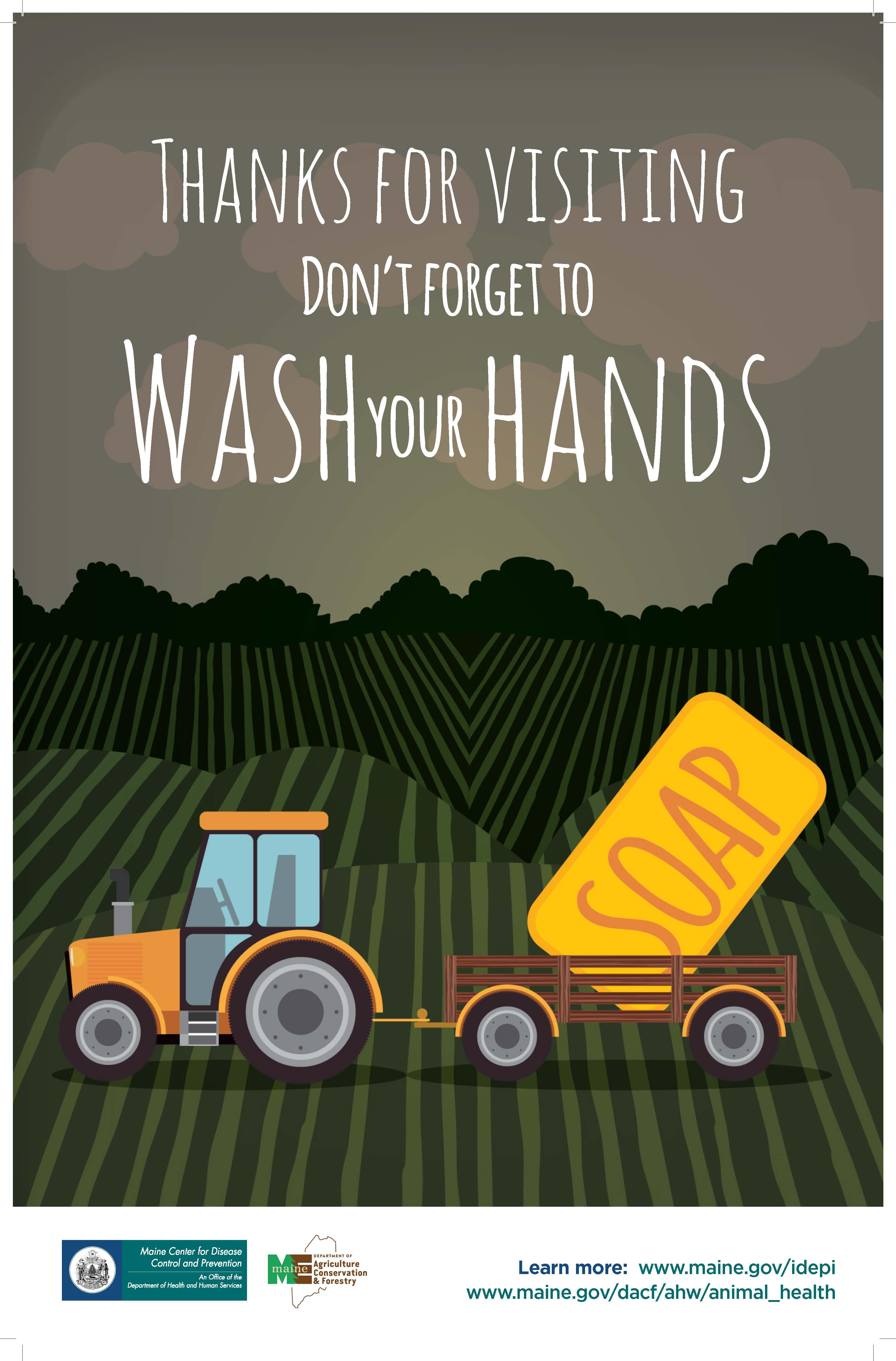 Handwashing Tractor Poster - Large