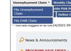 This is a screenshot of the Unemployment screen.